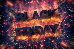 Black Friday exploding sign with embers Stock Images