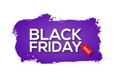 Black Friday extrahieren lila Tintenspritzenfahnen-Schablonenillustration Schwarzer Freitag-Verkaufsschmutzaufkleber stock abbildung