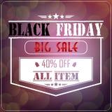 Black Friday försäljning på glödande bakgrund Arkivbild