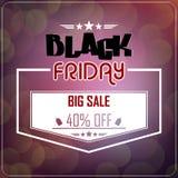 Black Friday försäljning på glödande bakgrund Fotografering för Bildbyråer