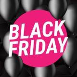 Black Friday försäljningsaffisch Med svarta ballons Design av reklamblad också vektor för coreldrawillustration Royaltyfri Fotografi