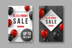 Black Friday försäljningsaffischer röda och svarta realistiska glansiga ballonger för 3d med text- och rabattetiketten Grå färg-  Royaltyfria Bilder