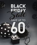 Black Friday försäljningsbaner, med svarta ballonger Arkivfoton