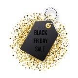Black Friday försäljningsetikett Den svarta etiketten med guld- blänker vektor illustrationer