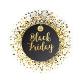 Black Friday försäljningsetikett Den svarta etiketten med guld- blänker Arkivfoto