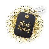 Black Friday försäljningsetikett Den svarta etiketten med guld- blänker isolerat på vit backround royaltyfri illustrationer