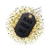 Black Friday försäljningsetikett Den svarta etiketten med guld- blänker isolerat på vit bakgrund Royaltyfri Bild
