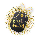 Black Friday försäljningsetikett Den svarta etiketten med guld- blänker isolerat på vit bakgrund Arkivbild