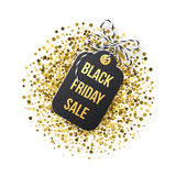 Black Friday försäljningsetikett Den svarta etiketten med guld- blänker på vit backround vektor illustrationer