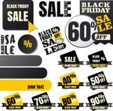 Black Friday försäljningsetiketter Royaltyfria Bilder