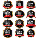 Black Friday försäljningsetiketter stock illustrationer