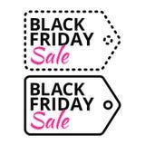 Black Friday försäljningslinje vektoretikett med text Fotografering för Bildbyråer