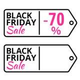 Black Friday försäljningslinje vektoretikett med text Royaltyfri Bild