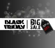 Black Friday försäljningsmall med klistermärken på bokehbakgrund Arkivfoton