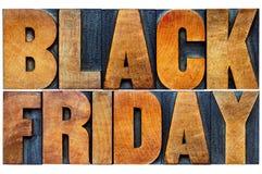 Black Friday-Fahne in der hölzernen Art Lizenzfreie Stockfotos