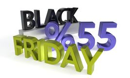 Black Friday, fifty five percent discount, 3d rendering. Black Friday, fifty five percent discount, 3d render Royalty Free Stock Image