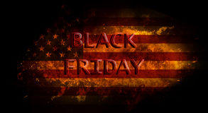 Black Friday on fire flame exposion and USA flag, black background Stock Photography