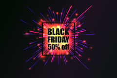 Black Friday. Fireworks discounts. Royalty Free Stock Photo