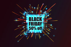 Black Friday. Fireworks discounts. Stock Photos