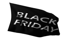 Black friday sale flag. 3d illustration. Black friday flag, 3d illustration. isolated on white background. suitable for discount, sale and marketing themes Stock Photos