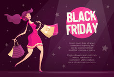 Black Friday flyer template with happy female shopper Stock Photography