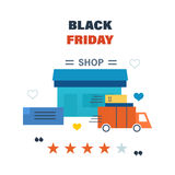 Black Friday, formulation and delivery of the goods, discounts, deals Stock Photography