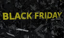 Black friday fracture glass, 3d Stock Photos