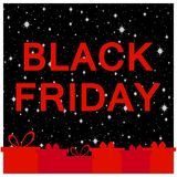 Black Friday frame with gift boxes. Great sale, festive greeting card. Vector. Illustration Stock Images