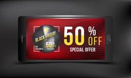 Black Friday 50 fuori dallo sconto Vendita eccellente del manifesto di pubblicità di concetto con dello smartphone su un fondo sc Fotografie Stock Libere da Diritti
