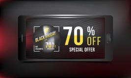 Black Friday 70 fuori dallo sconto Vendita eccellente del manifesto di pubblicità di concetto con dello smartphone su un fondo sc Fotografia Stock
