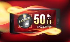 Black Friday 50 fuori dallo sconto Vendita eccellente del manifesto di pubblicità di concetto con lo smartphone e l'insegna con g Fotografia Stock