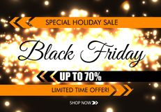Black Friday glow sparkling web banner. Black text on dark luminous night background. Special holiday sale. Up to 70 percent. Discount. Limited time offer vector illustration