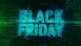Black Friday. Glowing hologram intro on dynamic digital background. Modern and futuristic 3D introduction for sale promotion. Loopable and seamless 4K animation vector illustration