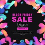 Black friday glowing neon lights sale banner. Vector abstract trendy poster. Square frame with multicolor liquid shapes Stock Photo