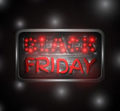 Black Friday glowing text on a metal plate. With red and white lights on a dark, night background. Vector illustration Royalty Free Stock Photography