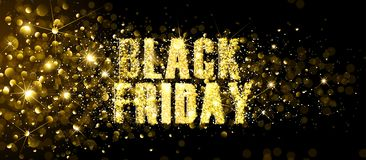 Black Friday Gold Glitter Background. Vector illustration royalty free illustration