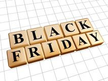 Black friday in golden cubes Royalty Free Stock Photos