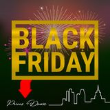 Black Friday Golden Frame on a Dark Background. Firework. In the Sky. Red Down Arrow. Big City Skyline. Vector Illustration Stock Photography