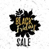 Black Friday golden lettering typography design with black leaves and burst on a old textured background. Vector. Illustration for flyer, poster, sign, banner stock illustration