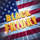 Black friday in golden letters over USA flag Stock Photos