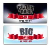 Black Friday, grande vendita bandiera Nastro Immagini Stock