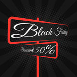Black Friday. Great sale. Road sign with text on the boards. Discount of 50 percent. Banner and cover for the project. Large purch. Ases of goods. Vector Royalty Free Stock Photos