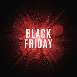 Black Friday. Great sale. Text on the background of a large red flash with luminous dust. Cover for the project. Vector Royalty Free Stock Image