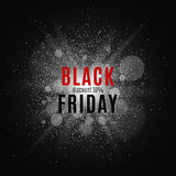 Black Friday. Great sale. Text on the background of a white flash with luminous dust. Cover for the project. Vector Stock Photography