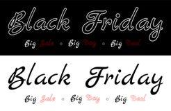 Black Friday - Grote verkoop, grote dag, grote overeenkomst Beschrijving op de zwarte of witte achtergrond royalty-vrije illustratie