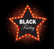 Black Friday gwiazdy światła retro rama Fotografia Stock