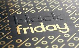 Black Friday händelsebakgrund med guld- procentsymboler royaltyfri foto