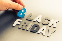 Black Friday. Hand arrange small wood letters as Black Friday topic Royalty Free Stock Photos