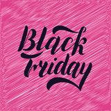 Black friday hand lettering, isolated on pink background. Sale vintage type design. vector illustration