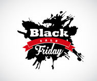 Black Friday hand made splash label with red ribbon. Stock Photography